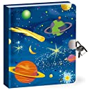 "Peaceable Kingdom Deep Space Glow in the Dark 6.25"" Lock and Key, Lined Page Diary for Kids"