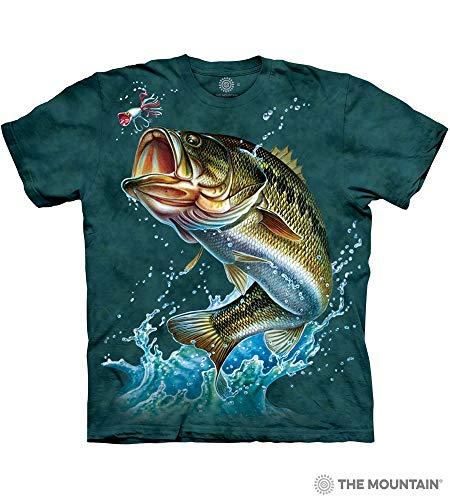 The Mountain Bass Adult T-Shirt, Blue and Green, Medium