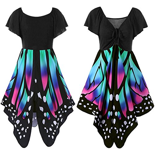 iShine La Sra vestido del vendaje V-cuello de manga corta de costura irregular mariposa