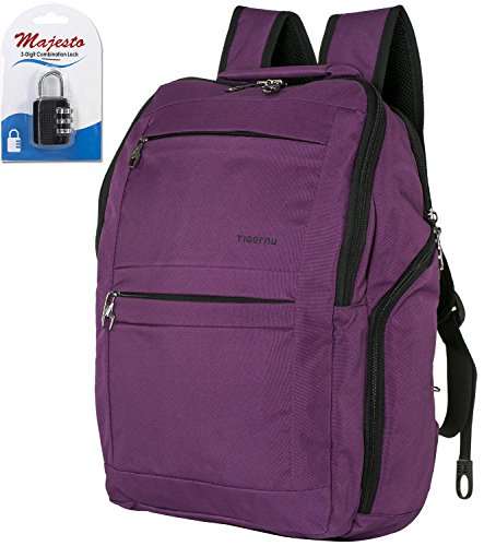 Business Laptop Backpack for 14 Inch Notebook for Travel and Commute with Bottle Holders and Lots of Pockets Water Resistant Small Padded Ergonomic Light Professional Purple + Padlock Bundle