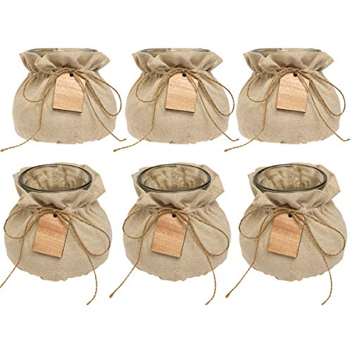 (Syndicate Sales (6 Pack Vintage Home Decor Glass Vase Set with Linen Jackets for Flowers Candy Keys)