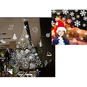 Girt More Holiday Christmas Window Clings Snowflakes Tree Wreath Large Decal Sets 63