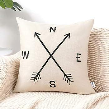 Anickal Arrow Compass Decorative Throw Pillow Covers Cotton Linen Farmouse Cushion Cover 18x18 Inches for Home Couch Sofa Bench Decor