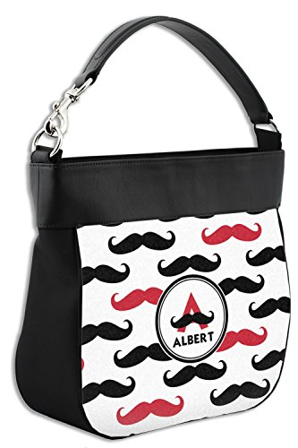 w Trim amp; Leather Genuine Print Mustache Front Back Purse Hobo Personalized gqtF1AO