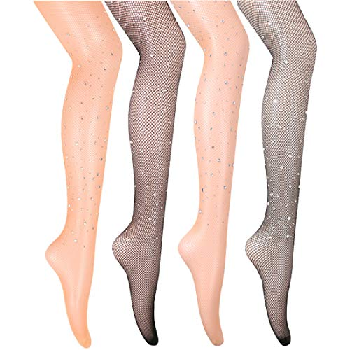 Fishnet Stockings High Waist Tights for Women Cross Thigh High Pantyhose (Tan Diamond-4 Pack) -
