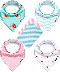 """Baby Bandana Drool Bibs for Girls with 2 Burp Cloths, 6-Pack Gift Set for Drooling and Teething, 100% Organic Cotton, Soft, Absorbent, Hypoallergenic - """"Darling Set"""" By Zoozik"""