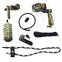SinoArt Archery Acccessories Combo Set Archery Upgrade , 5 Pin Bow Sight with Level and Light, Arrow Rest, Stabilizer, Sling, Peep for Compound Bow and Recurve Bow
