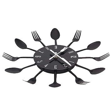 Cdrox Reloj de Pared de la Cocina Moderna 3D Menaje de Cocina Cuchara Tenedor Reloj de Pared Tatuajes de Pared Pared del Sitio de la decoración del hogar: ...