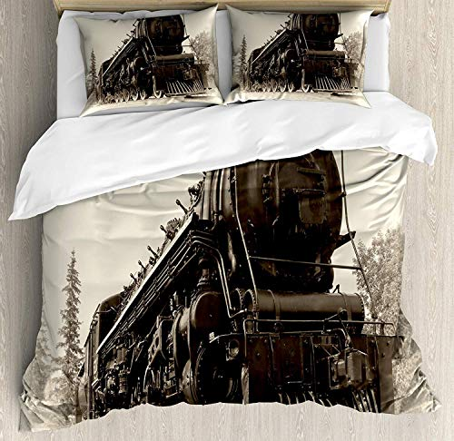 Steam Engine Duvet Cover Set, Bed Sheets, Antique Northern Express Train Canada Railways Photo Freight Machine Print, Decorative 3 Piece Bedding Set with 2 Pillow Shams, Queen Size, Black Grey (Duvet Canada Cover Sets)
