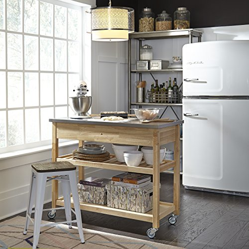 Home styles natural designer utility cart with stainless steel top furniture carts islands Home styles natural designer utility cart