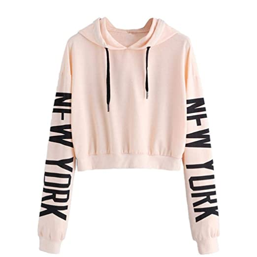 8d19b547 BSGSH Women's Cute Long Sleeve Hoodie New York Letter Print Crop Top Pullover  Sweatshirt (S