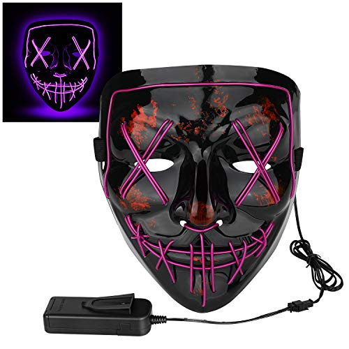 Poptrend Halloween Cosplay LED Light Mask(Purple)]()