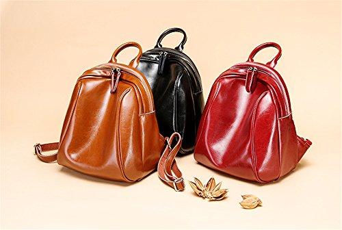 Otoño e Invierno XinMaoYuan bolsos de cuero Casual señoras bolso simple cera aceite Cowhide Mochila escolar viaje Wind,Brown Vino rojo