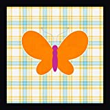 """Plaid Butterfly I by Linda Woods - 20"""" x 20"""" Framed Giclee Canvas Art Print - Ready to Hang"""