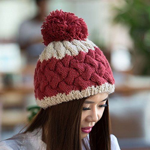 señoras otoño Coreanas Joker Punto para Maozi Nuevo el de Colores Invierno Tejer Mezclados Lana Galería RED Tapa Red wAWzY8q4