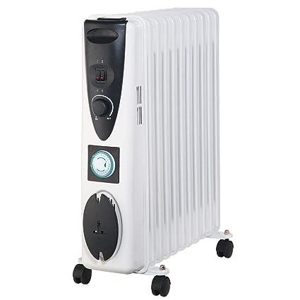 Lauson Radiador Eléctrico de Aceite Temporizador Programable, 3 Niveles de Potencia, Protección contra Sobrecalentamiento