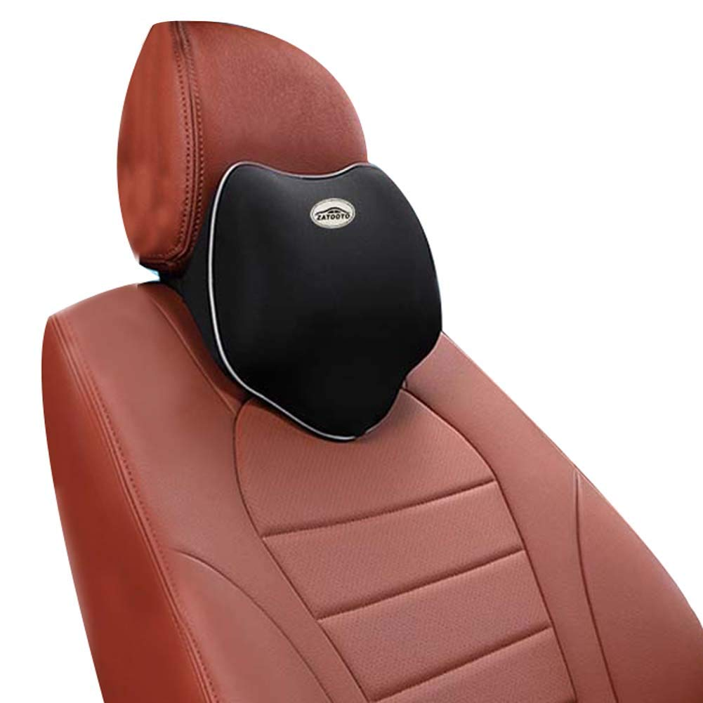 ZATOOTO Memory Foam Car Headrest Pillow - Neck Support Car Seat Pillow Cushion, Relieve Fatigue, Breathable, Removable Cover Black TZ0726