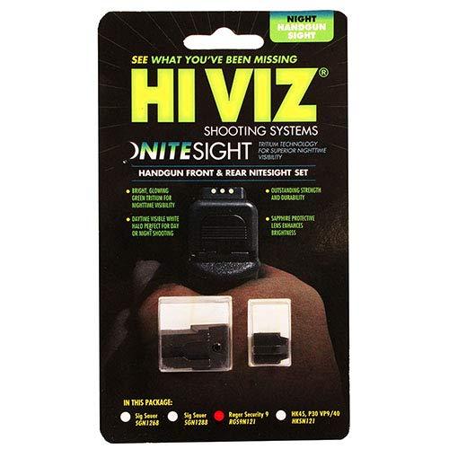 - Hi-Viz HIVIZ RGS9N121 HIVIZ Sight Systems, Night Sight Tritium Front & Rear Set, Ruger Security 9
