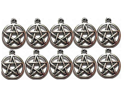 Small Pentacle Charm pack of 10 pendants. Silver Tone Pentagram Charms Pendants