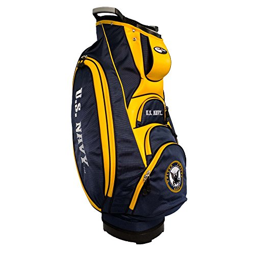 Team Golf Military Navy Victory Golf Cart Bag, 10-Way Top with Integrated Dual Handle & External Putter Well, Cooler Pocket, Padded Strap, Umbrella Holder & Removable Rain Hood ()