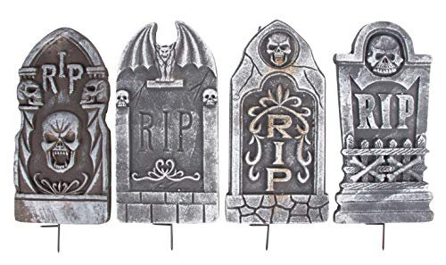 Plastic Tombstones Halloween (Halloween Tombstones - 4-Set Fake Cemetery Yard Decoration, Graveyard RIP Skull Headstone Foam Sign, Theme Party Supplies, Indoor Outdoor Lawn Prop, Plastic Stakes Included, Black, 8 x 16 x 0.8)