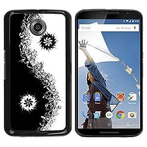 Paccase / SLIM PC / Aliminium Casa Carcasa Funda Case Cover para - Black Yin Yang Floral Minimalist - Motorola NEXUS 6 / X / Moto X Pro