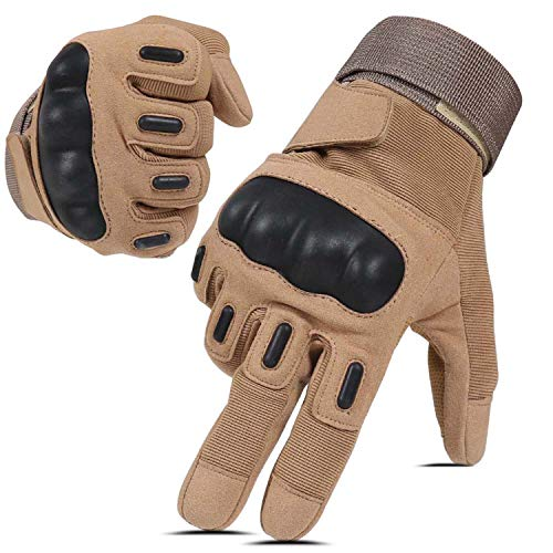 HIKEMAN Army Tactical Gloves Outdoor Full Finger and Half Finger Military Rubber Hard Knuckle Airsoft Paintball Gloves for Motorcycle Cycling Hunting Shooting Hiking Camping