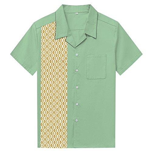 Anchor MSJ Men's 50s Male Clothing Rockabilly Style Casual Cotton Blouse Mens Fifties Bowling Dress Shirts (XXL, -