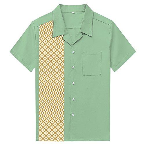 Anchor MSJ Men's 50s Male Clothing Rockabilly Style Casual Cotton Blouse Mens Fifties Bowling Dress Shirts (XXL, Diamond) ()