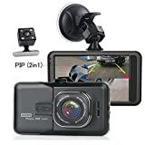 Camecho Dash Camera Dual Lens 3 Inch 1080P Full HD Black Box Video Recorder With Backup Rearview Camera Night Vision Waterproof 170 Degree Viewing