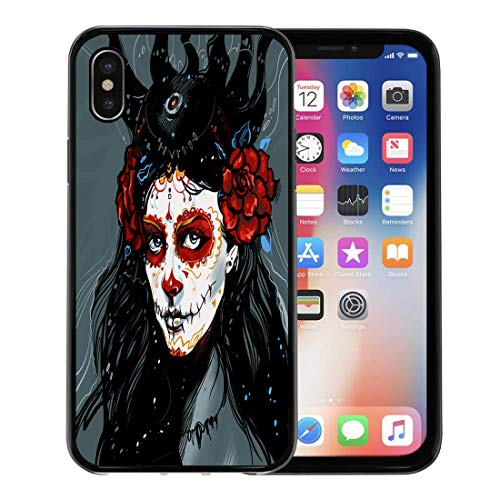 Emvency Phone Case for Apple iPhone Xs case,Blue Calavera Muerte Red Girl Catrina Face Skull Flower for iPhone X Case,Rubber Border Protective Case,Black