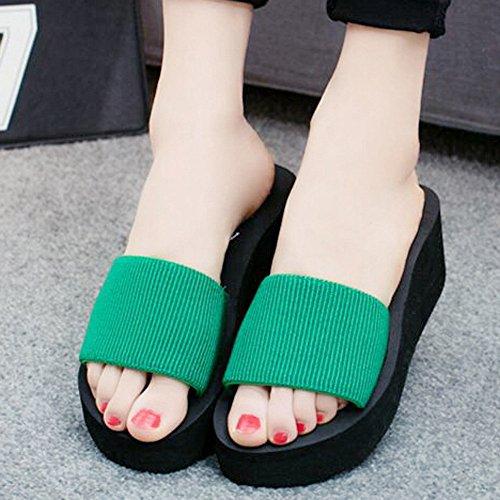 Damen Zehentrenner, Yogogo Sommer Sandalen Slipper Indoor Outdoor Flip-Flops Strand Schuhe (38, Braun)