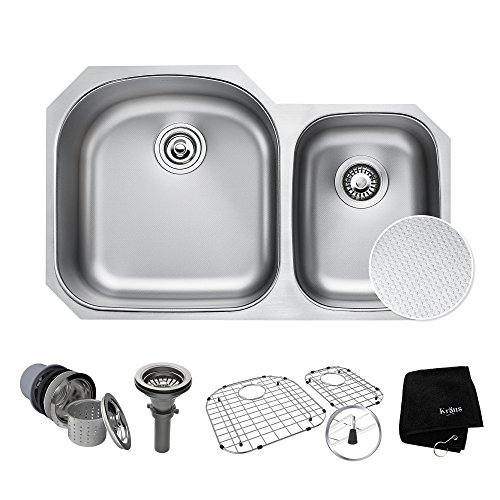 - KRAUS Outlast MicroShield Scratch-Resist Stainless Steel Undermount 60/40 Double Bowl Sink, 32
