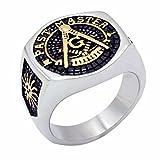 Vintage Men's Ring Masonic Freemason Past Master Biker Stainless Steel Knight Templar Rings US 7-14