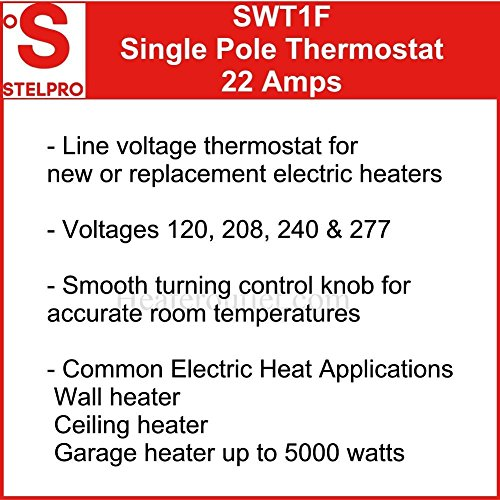 Line Voltage Thermostat, Electric heaters only. Stelpro SWT1F, Single pole (2 wire) a simple to use thermostat for most electric heaters. Temperature range of 50 to 90°F, can control up to 22 amps by STELPRO (Image #1)
