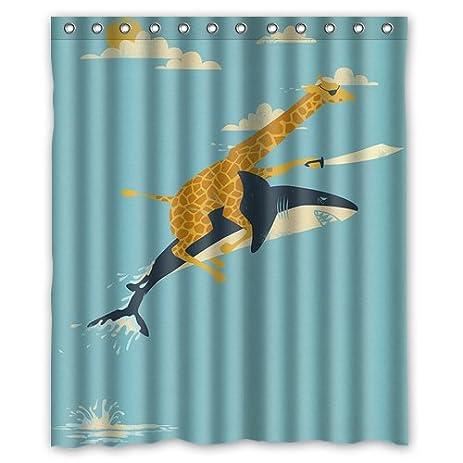 Giraffe Riding Shark Never Stop Dreaming Sea Underwater World Shower Curtain  60x72 Inch