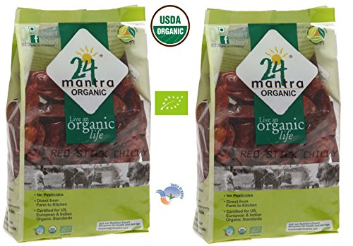 Organic Red Chilly Stick - Dried Chilli Whole (Chili) - ★ USDA Certified Organic - ★ European Union Certified Organic - ★ Pesticides Free - ★ Adulteration Free - ★ Sodium Free - Pack of 2 X 7 Ounces (14 Ounces) - 24 Mantra Organic by 24 Mantra Organic
