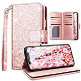 Fingic Wallet Case for iPhone Xs Max,Case for iPhone Xs Max,Glitter Flip PU Leather Credit Card Holder Cash Pockets Wristlet Protective Phone Case for Apple iPhone Xs Max 2019 6.5',Rose Gold