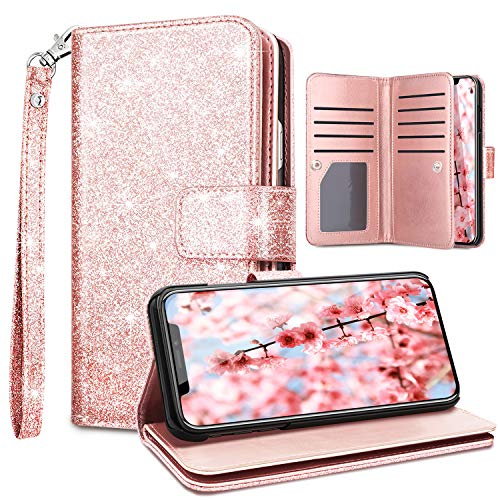 Fingic Wallet Case for iPhone Xs Max,Case for iPhone Xs Max,Glitter Flip PU Leather Credit Card Holder Cash Pockets Wristlet Protective Phone Case for Apple iPhone Xs Max 2018 6.5,Rose Gold