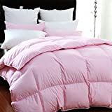 90% Natural White Duck Down Bedroom Pink Comforter Insert 100% Organic Cotton 300 TC (CAL King 108x94 inch)