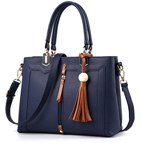 Bolsos de señora Xinmaoyuan señoras bolso de gran capacidad Retro paquete paquete Diagonal Plaza Pequeña bolsa Pu Blue