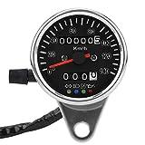 Qiilu 65 mm Universal Black Face LED Mechanical Motorcycle Speedometer Odometer Gauge with Indicator Sliver
