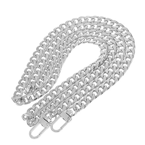 LONGTEAM 47 Purse Chain Strap Replacement 9mm Width DIY Flat Metal Chain Strap for Handbags Clutch Wallet Satchel Tote Shoulder Crossbody Bag, with 2pcs Metal Buckles (9mm Width Silver)