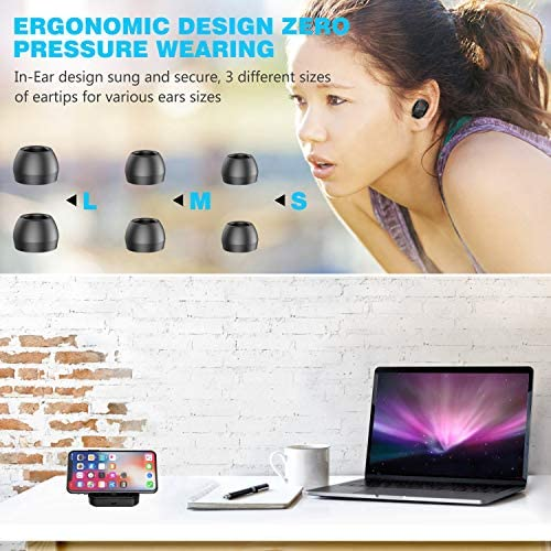 Wireless Earbuds, Bluetooth 5.0 Headphones TWS Stereo Wireless Earphones Sweatproof Bluetooth Earbuds 90H Playtime in-Ear Headset Earphones with 2000mAh Charging Case Built-in Mic Deep Bass for Sports