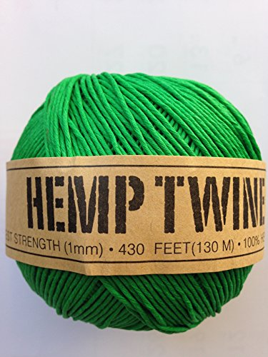 Hemp Twine Balls size 1mm, 143yd 130m 430ft each ball DIY Mulitple Color Options (Green)