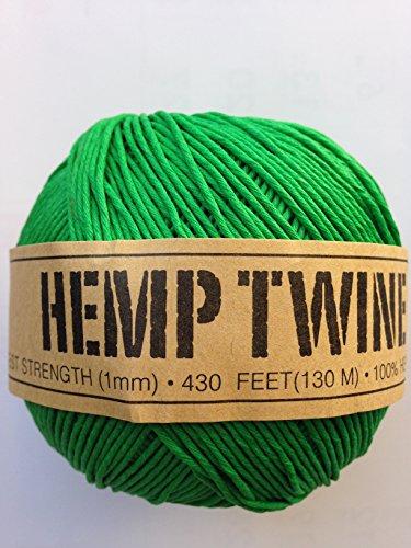 Hemp Twine Balls size 1mm, 143yd 130m 430ft each ball DIY Mulitple Color Options - Color Green Color Option