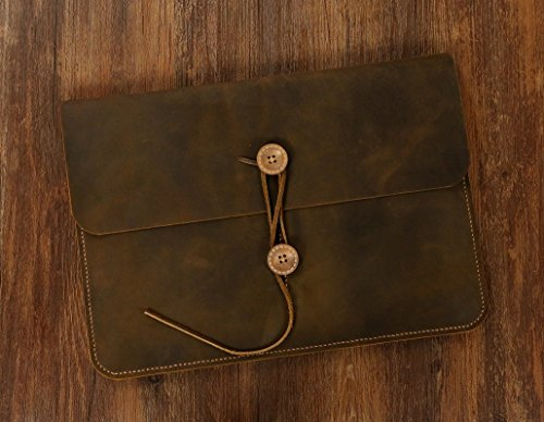 Handmade leather macbook case portfolio bag for 11 12 13 15 inch macbook air pro / vintage brown leather macbook sleeve MACX05C-N