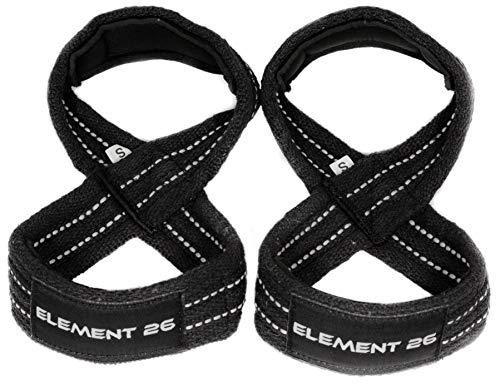 Element 26 Padded Figure 8 Wrist Straps - Weightlifting Straps - Figure 8 Straps - Wrist Straps for Crossfit, Weight Lifting, Deadlifts, Farmer Walks (Large, Black)