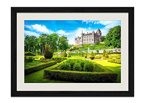 (CU.RONG Dun Robin Castle Wood Frame Poster Home Art Deco Picture Print Framed Painting(12x16 in Black)
