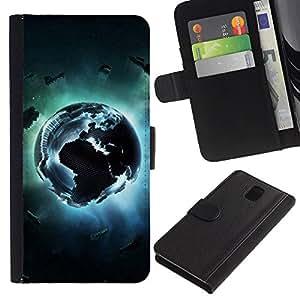 JackGot ( Pixel terra ) Samsung Galaxy Note 3 III la tarjeta de Crédito Slots PU Funda de cuero Monedero caso cubierta de piel
